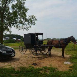 アーミッシュのお店に停まる私達の車とアーミッシュの馬車